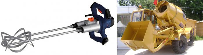 Ручной и авто миксер для перемешивания бетона