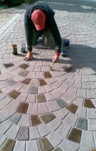 Укладка декоративного бетонного покрытия