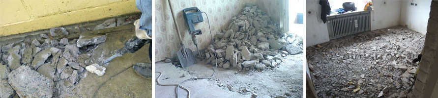 Процесс демонтажа стяжки из бетона