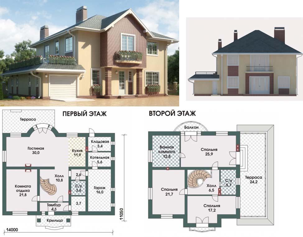 Типовой проект дома с гаражом из пеноблоков Берндорф