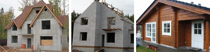 Фото домов из древесины и пенобетона