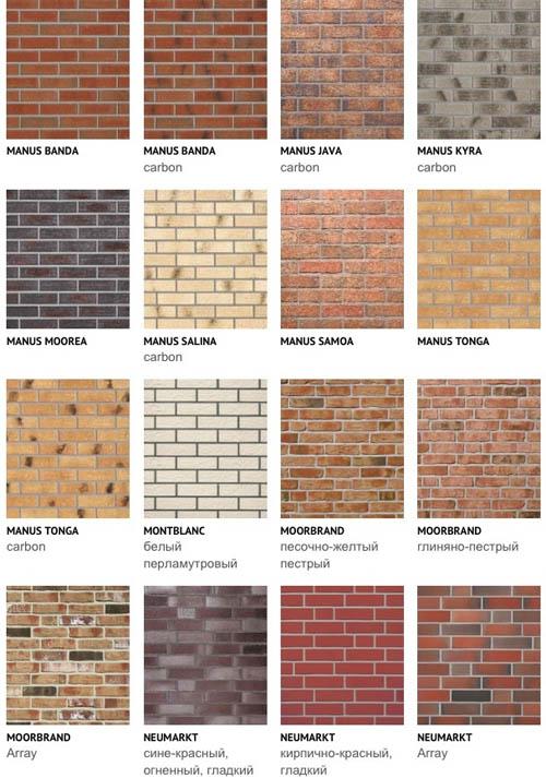 Разные виды облицовочных материалов