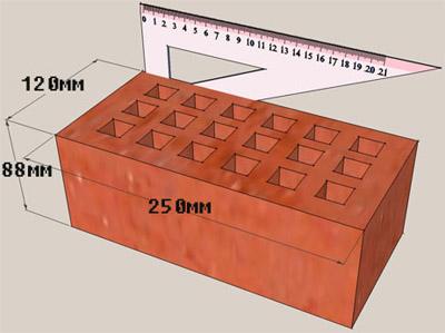 Размеры полуторного блока