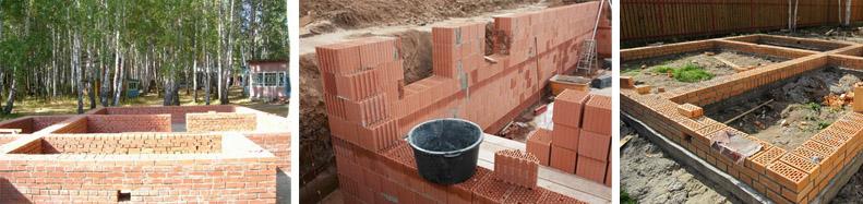 Основание дома из кирпича