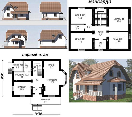 Проект одноэтажного дома из пенобетона с мансардой