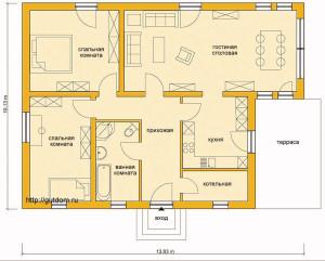 План проект одноэтажного дома из блоков газобетона