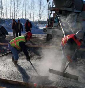 Бетонирование зимой, выполнение электропрогрева