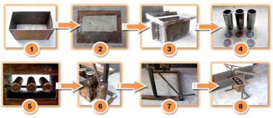 Схема самодельного устройства для шлакоблоков