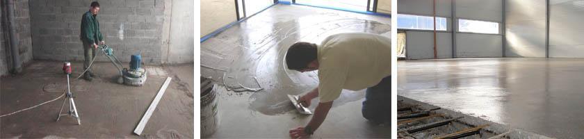 Процесс выравнивания бетонного пола