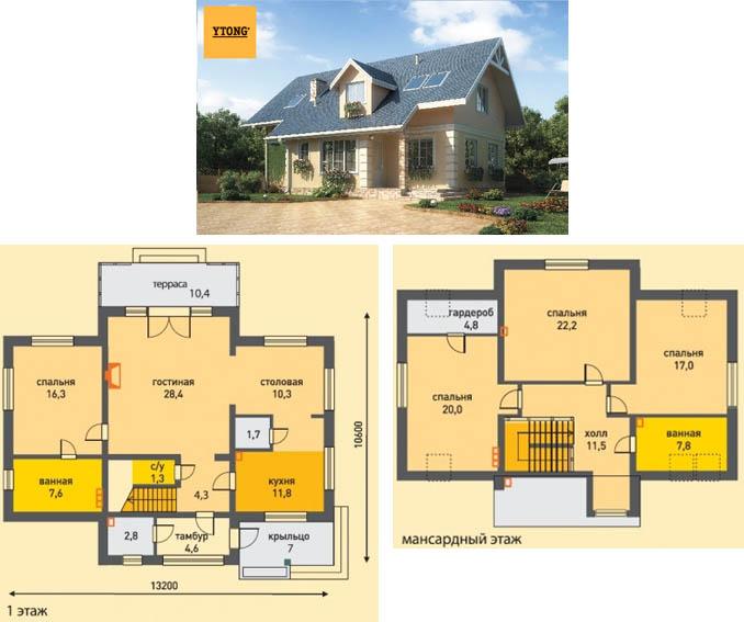 Проект блочного дома с мансардой Альтена