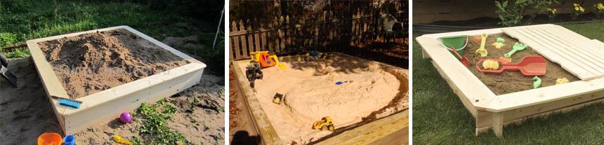 Детские песочницы с различными видами песка