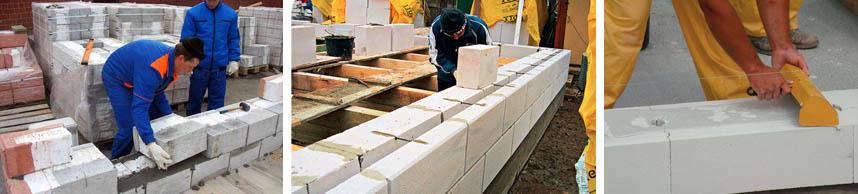 Процесс укладки газосиликатных конструкций