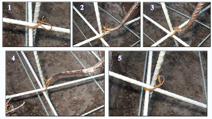 Схема связывания прутьев